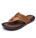 Flip Flops with Genuine Leather Weave Decoration
