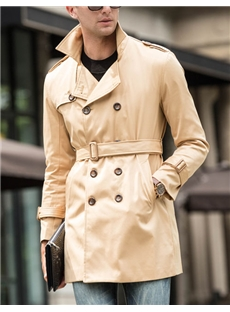 Trench Coat with Plus Size Double Breast Lapel Collar