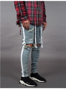 New ripped jeans for men with white stripe on the side